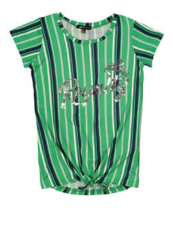 Girls 7-16 Royalty Foiled Graphic Striped Tee - 1635038340084