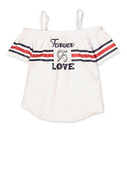Girls 7-16 Forever Love Striped Detail Top - 1635038340087