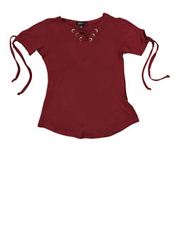 Girls 7-16 Lace Up Soft Knit Tee - 1635038340088