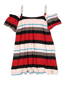 Girls 7-16 Striped Chain Off the Shoulder Top - 1635038340096
