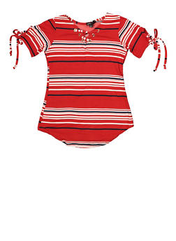 Girls 7-16 Striped Lace Up Top - 1635038340098