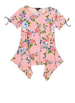 Girls 7-16 Floral Tie Sleeve Asymmetrical Hem Top - 1635038340100