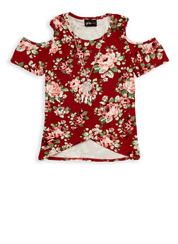 Girls 7-16 Floral Cold Shoulder Top with Necklace - 1635051060001