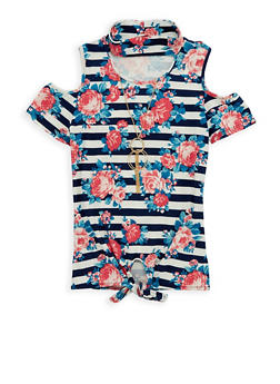 Girls 7-16 Floral Tie Front Top with Necklace - 1635051060006