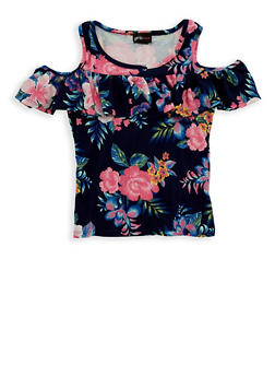 Girls 7-16 Floral Ruffle Cold Shoulder Top - 1635051060007