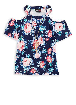 Girls 7-16 Soft Knit Floral Top with Necklace - 1635051060011