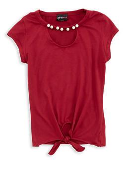 Girls 7-16 Soft Knit Pearl Trim Top - 1635051060012
