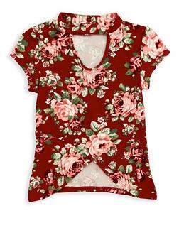 Girls 7-16 Soft Knit Floral Keyhole Top - 1635051060014