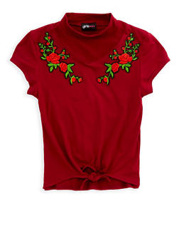 Girls 7-16 Floral Patch Tie Front Top - 1635051060016