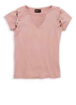 Girls 7-16 Lace Up Short Sleeve Top - 1635051060017