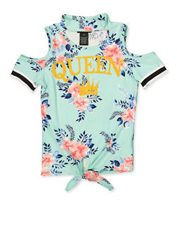 Girls 7-16 Queen Floral Cold Shoulder Top - 1635051060030