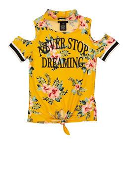 Girls 7-16 Never Stop Dreaming Cold Shoulder Top - 1635051060031