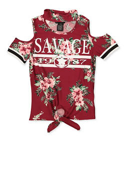 Girls 7-16 Savage Floral Keyhole Top - 1635051060032