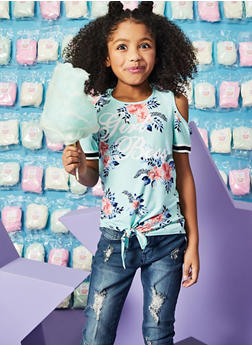 Girls 7-16 Girl Boss Tie Front Floral Top - 1635051060033