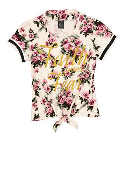 Girls 7-16 Floral Glitter Graphic Keyhole Top - 1635051060036