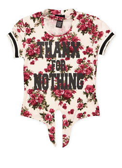 Girls 7-16 Thanx for Nothing Floral Top - 1635051060038