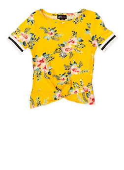 Girls 7-16 Twist Front Floral Top with Necklace - 1635051060039