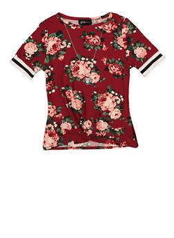 Girls 7-16 Floral Twist Front Top with Necklace - 1635051060040