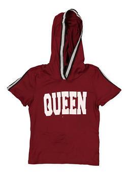 Girls 7-16 Queen Tape Trim Hooded Tee - 1635051060045