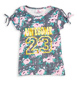 Girls 7-16 Floral Foil Graphic Slit Sleeve T Shirt - 1635054730001