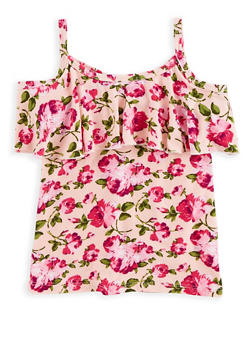 Girls 4-16 Floral Cold Shoulder Top - 1635054730006