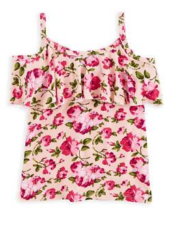 Girls 6x-16 Floral Cold Shoulder Top - 1635054730006