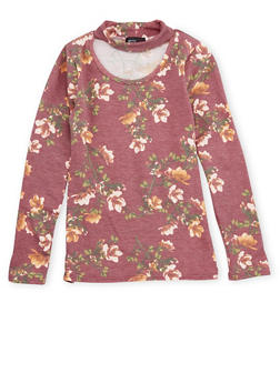 Girls 7-16 Floral Print Keyhole Top - 1635061950218
