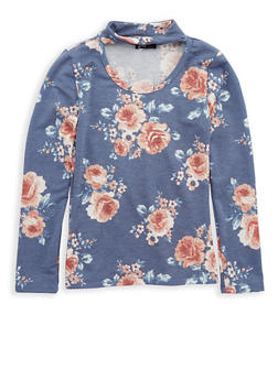 Girls 7-16 Floral Print Keyhole Top - 1635061950219
