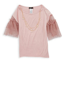 Girls 7-16 Mauve Tiered Sleeve Top with Necklace - 1635061950243