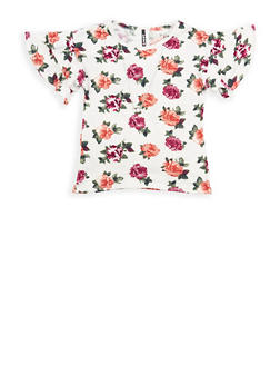 Girls 7-16 Floral Tiered Sleeve Top with Necklace - 1635061950245