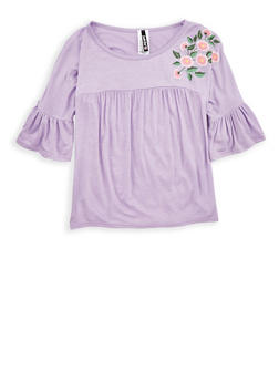 Girls 7-16 Flower Graphic Bell Sleeve Top - 1635061950247
