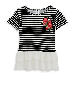 Girls 7-16 Striped Floral Patch Top - 1635061950254