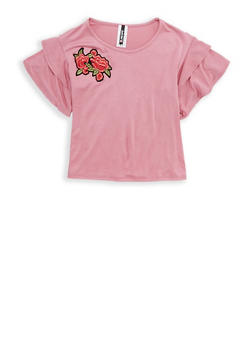 Girls 7-16 Tiered Sleeve Top with Flower Patch - 1635061950255