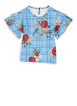 Girls 7-16 Floral Plaid Top with Necklace - 1635061950257