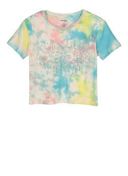 Girls Bebe Rhinestone Graphic Tie Dye Tee - 1635061950262