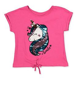 Girls 7-16 Sequin Unicorn Tee - 1635063370001