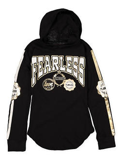 Girls 7-16 Fearless Hooded Tee - 1635063400025