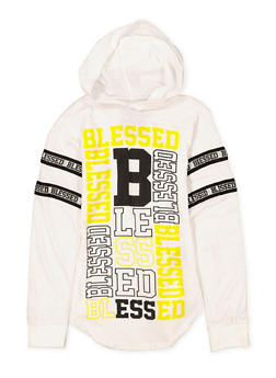 Girls 7-16 Blessed Graphic Hooded Tee - 1635063400027