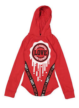 Girls 7-16 Love Hooded Tunic Tee - 1635063400029
