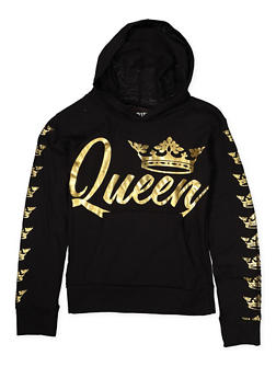 Girls 7-16 Queen Foil Graphic Hooded Tee - 1635063400034