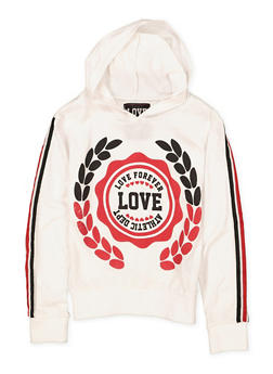 Girls 7-16 Love Striped Tape Sleeve Hooded Tee - 1635063400035