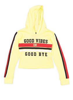 Girls 7-16 Good Vibes Graphic Hooded Crop Top - 1635063400050