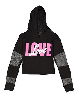 Girls 7-16 Love Graphic Hooded Crop Top - 1635063400052