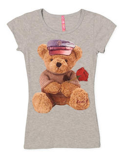 Girls 7-16 Bear Patch Tee - 1635066590124