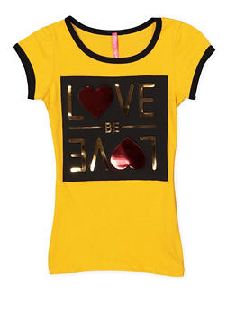 Girls 7-16 Love Be Love 3D Foil Graphic Tee - 1635066590135