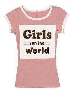 Girls 7-16 Girls Run the World 3D Graphic Tee - 1635066590140