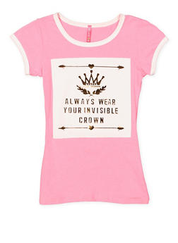 Girls 7-16 Crown 3D Foil Graphic Tee - 1635066590143
