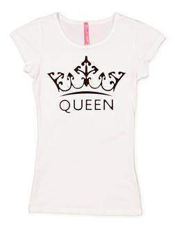 Girls 7-16 Queen 3D Foil Graphic Tee - 1635066590146