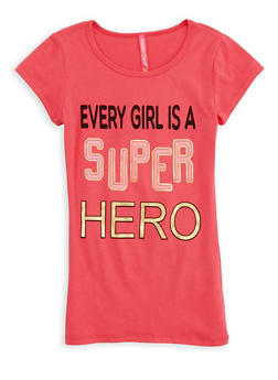 Girls 7-16 Superhero Graphic T Shirt - 1635066590554