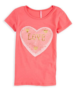 Girls 7-16 Reversible Love Heart Sequin T Shirt - 1635066590559